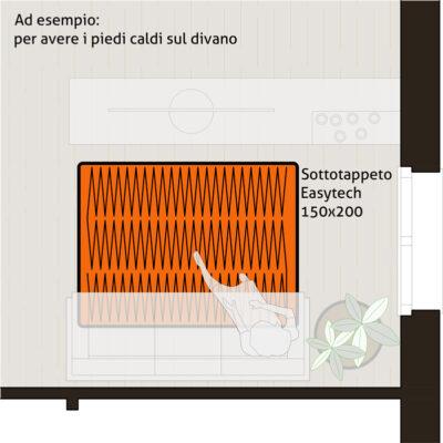 Sottotappeto riscaldante elettrico formato 150x200 cm